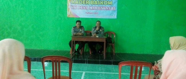 Kanit Binmas Polsek Sapuran Bripka Sandi Haryanto melaksanakan penyuluhan tentang bersama sama mencegah kenakalan remaja kepada kader Baskom ( Basis Komunitas) PKK Desa Marongsari Kecamatan Sapuran